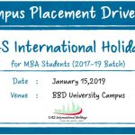 Campus Placement Drive of UAS International Holidays for MBA Students on 15th January 2019